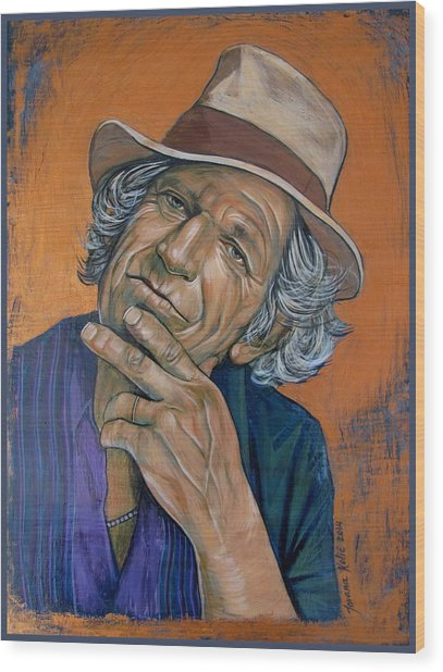 Keith Richards Wood Print by Jovana Kolic