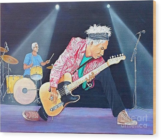 Keith Richards With Charlie Watts Wood Print