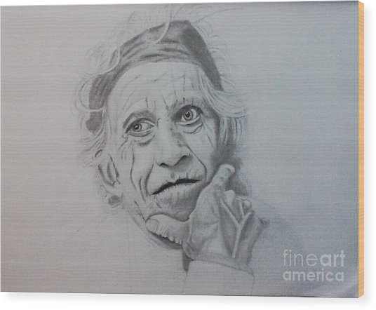 Keith Richards Of The Rolling Stone Wood Print