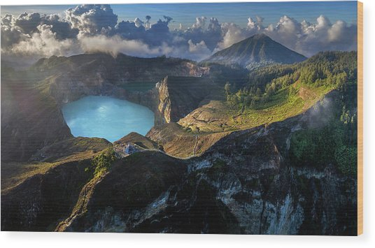 Wood Print featuring the photograph Kelimutu Volcano Panoramic View by Pradeep Raja PRINTS
