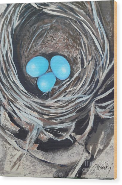 Kelly's Nest Wood Print by Donna McLarty