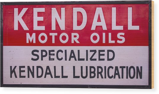 Kendall Motor Oils Sign Wood Print