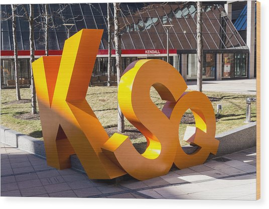 Kendall Square Sign Cambridge Ma Wood Print