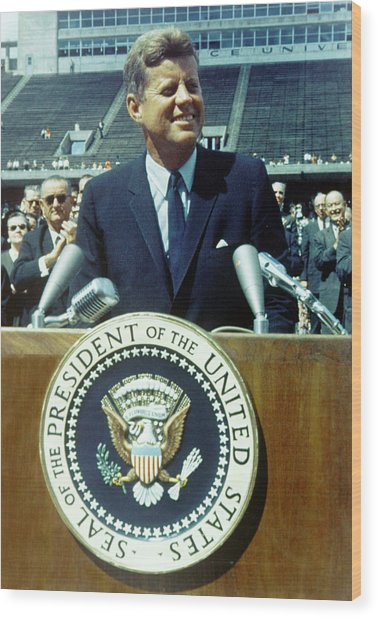 Kennedy At Rice University Wood Print
