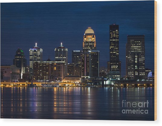 Louisville At Night Wood Print
