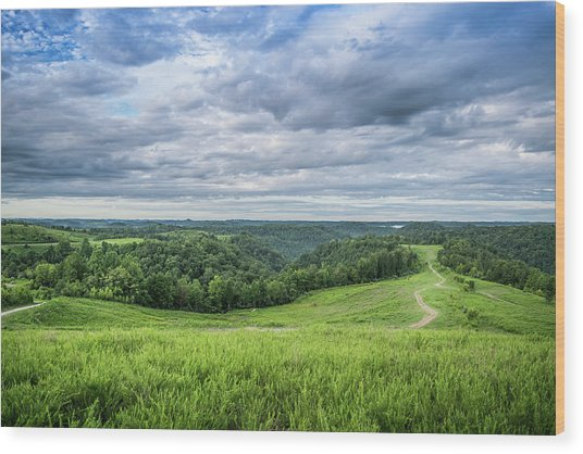 Kentucky Hills And Clouds Wood Print