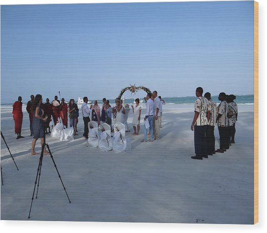 Kenya Wedding On Beach 2 With Maasai Wood Print