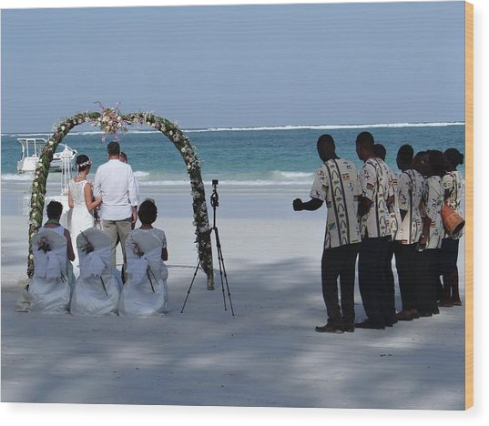 Kenya Wedding On Beach Happy Couple Wood Print