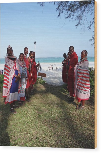 Kenya Wedding On Beach Maasai Bridal Welcome Wood Print