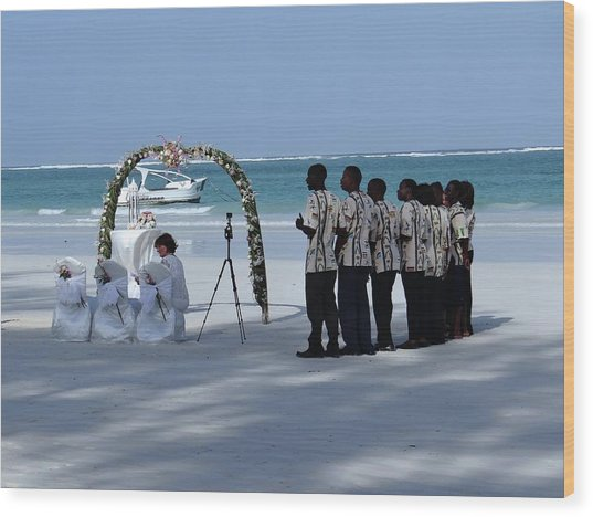Kenya Wedding On Beach Singers Wood Print