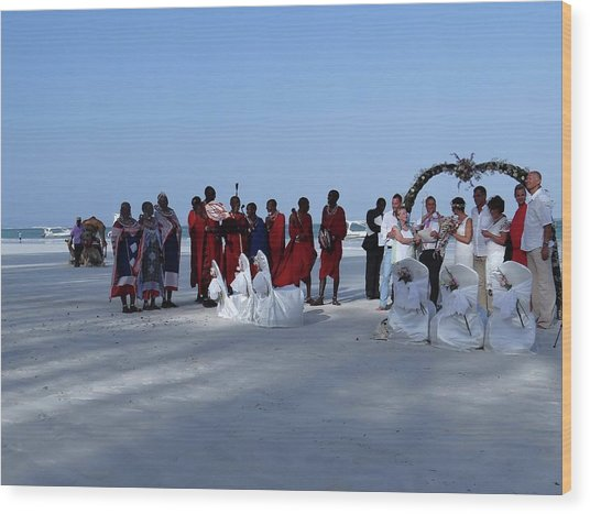 Kenya Wedding On Beach With Maasai Wood Print