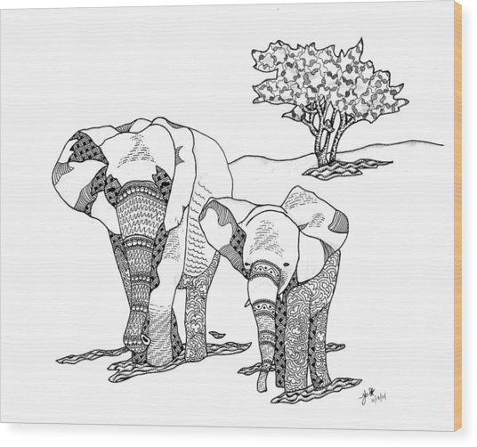 Kenyan Walk Wood Print