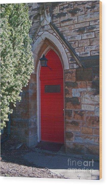 Red Church Door Wood Print