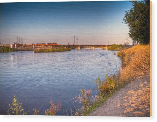 Kern River Train Full Moon Morning Wood Print