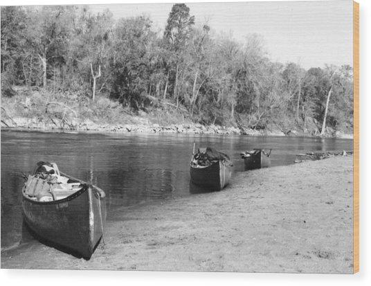 Kerr Lake Canoes Wood Print by Steven Crown