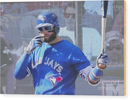 Kevin Pillar At Bat Wood Print