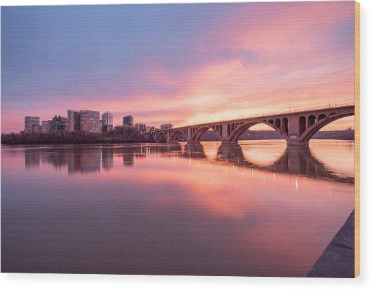 Key Bridge Sunset Wood Print by Michael Donahue