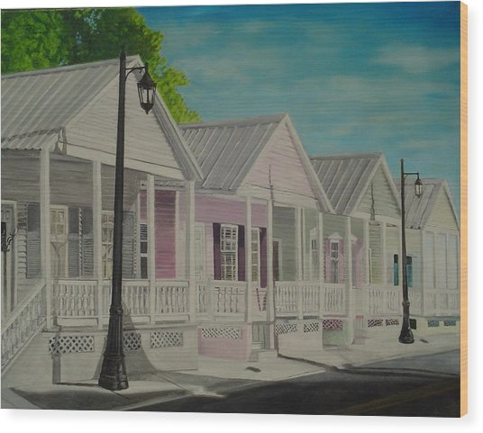 Key West Cottages Wood Print by John Schuller
