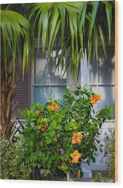 Key West Garden Wood Print