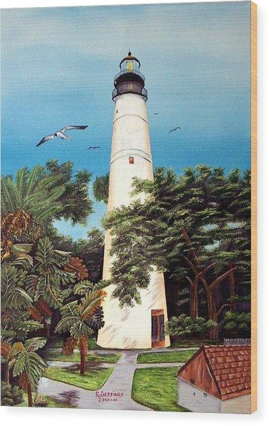 Key West Lighthouse Wood Print by Riley Geddings