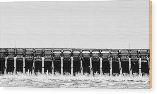 Keystone Dam Panoramic Wood Print