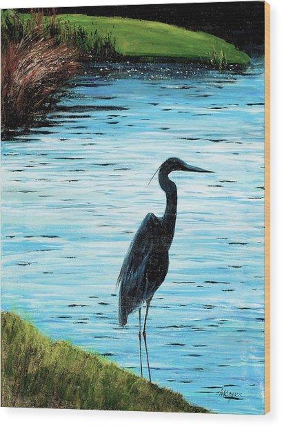 Kiawah Heron Wood Print