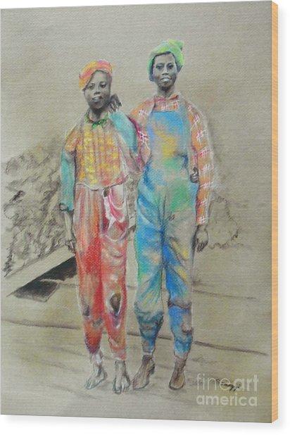Kickin' It -- Black Children From 1930s Wood Print