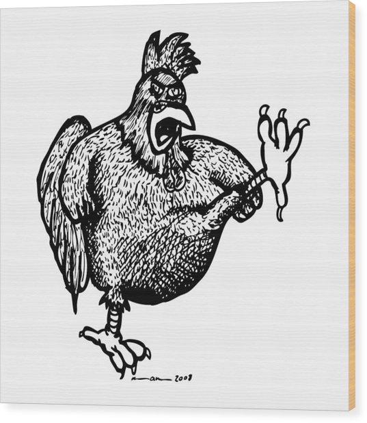 Kicking Chicken Wood Print by Karl Addison