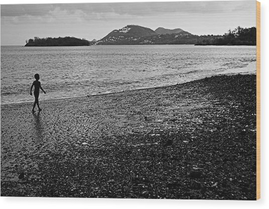 Kid On Beach-st Lucia Wood Print