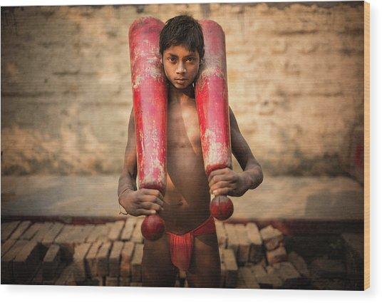 Kid With Bat Wood Print