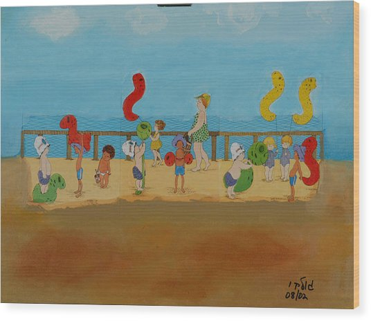 Kids At The Beach Wood Print by Harris Gulko