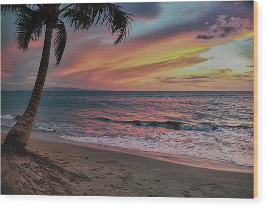 Kihei Sunset Wood Print