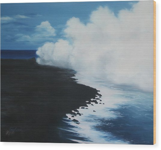 Kilauea - Lava Meets The Ocean IIi Wood Print by Mary Taglieri