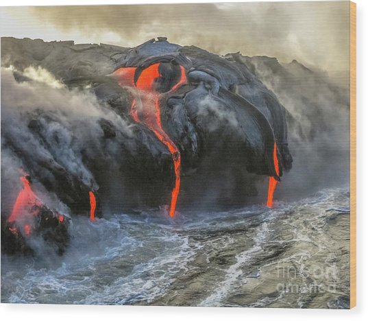 Kilauea Volcano Hawaii Wood Print