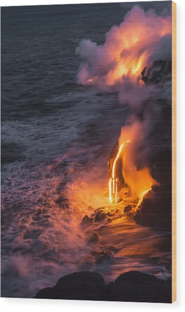 Kilauea Volcano Lava Flow Sea Entry 6 - The Big Island Hawaii Wood Print
