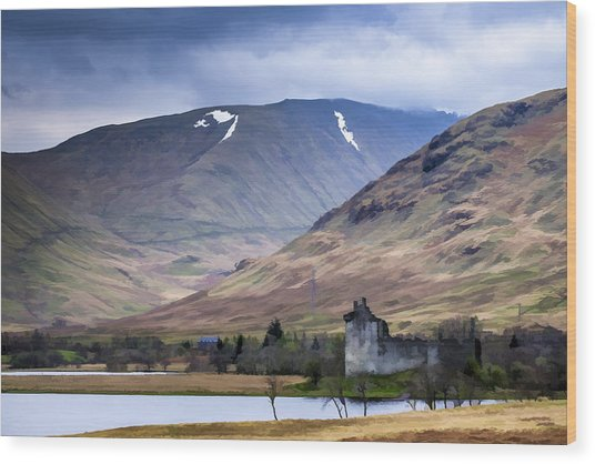 Kilchurn Castle On Loch Awe In Scotland Wood Print