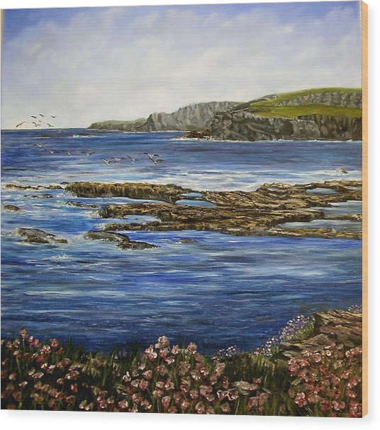 Kilkee Cliffs Ireland Oil Painting Wood Print by Avril Brand