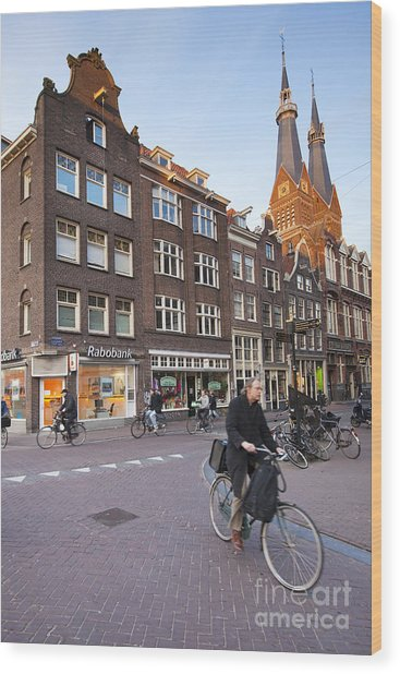 king a Walk in the Streets of Amsterdam Wood Print by Andre Goncalves