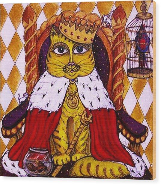 King Cat  Wood Print