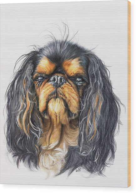 Wood Print featuring the painting King Charles Spaniel In Watercolor by Barbara Keith