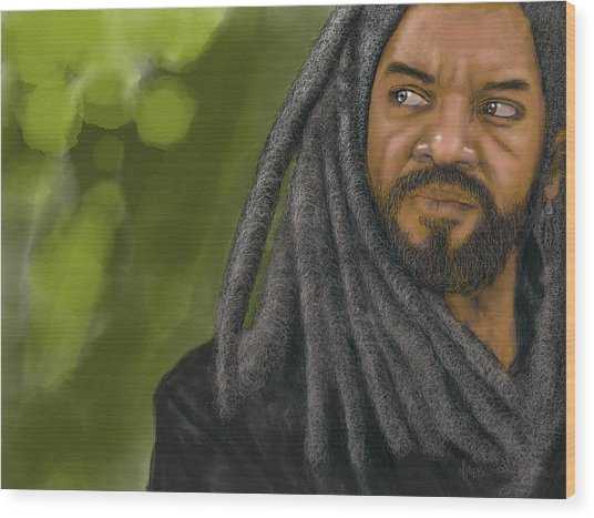 Wood Print featuring the digital art King Ezekiel by Antonio Romero