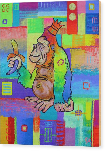 King Konrad The Monkey Wood Print