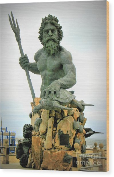 Wood Print featuring the photograph King Neptune Statue by Patti Whitten
