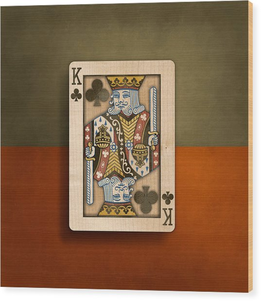 King Of Clubs In Wood Wood Print