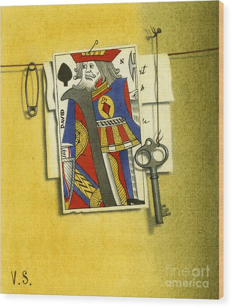 King Of Spades Wood Print