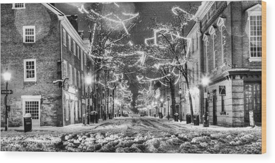 King Street In Black And White Wood Print