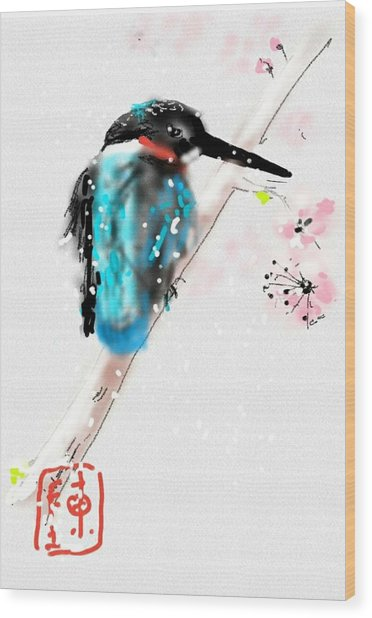 Kingfisher In Late Spring Snow Wood Print