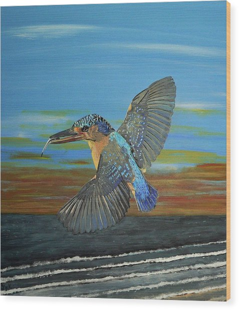 Kingfisher Of Eftalou Wood Print