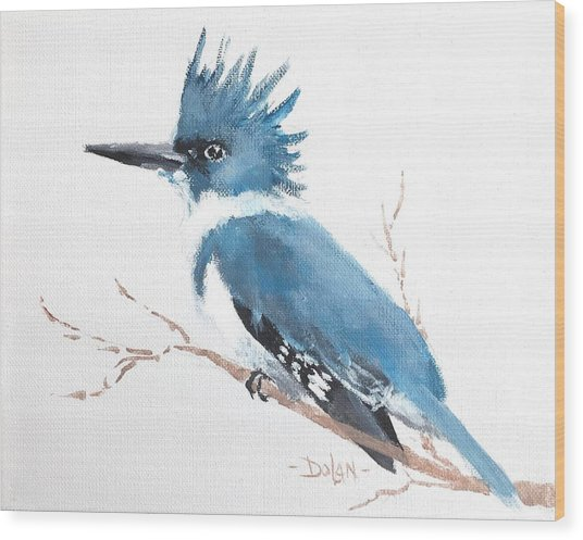 Kingfisher On A Branch Wood Print