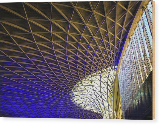 Kings Cross Railway Station Roof Wood Print